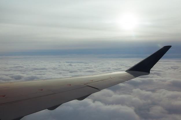 L'ambiente di panorama del cielo dell'ala dell'aeroplano si appanna la terra scenica del tempo Foto Premium