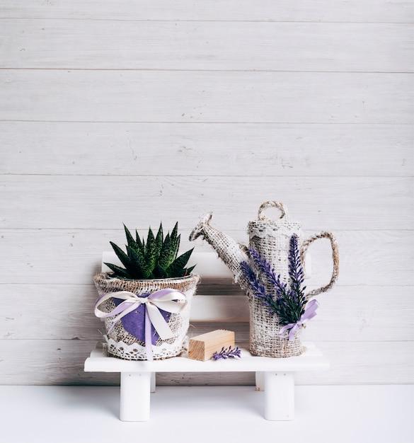 L'attenuata di haworthia in un vaso del sacco e l'acqua possono sulla tavola bianca contro il contesto di legno Foto Gratuite