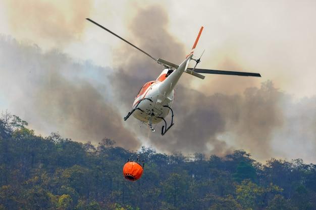 L'elicottero antincendio scarica l'acqua sull'incendio forestale Foto Premium