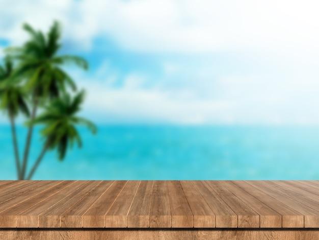 L'estate del modello vaga 3d rende la tavola di legno che guarda fuori il paesaggio tropicale del mare Foto Premium