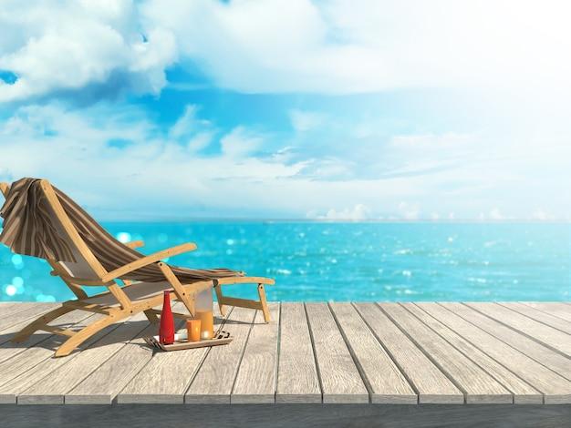 L'estate del modello vaga 3d rende la tavola di legno che guarda fuori la sedia del paesaggio del mare Foto Premium