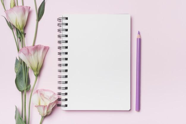 L'eustoma fiorisce con il taccuino a spirale in bianco con la matita porpora contro fondo rosa Foto Gratuite