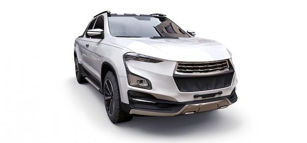 L'illustrazione 3d del camioncino bianco del carico di concetto su bianco ha isolato il fondo. rendering 3d. Foto Premium