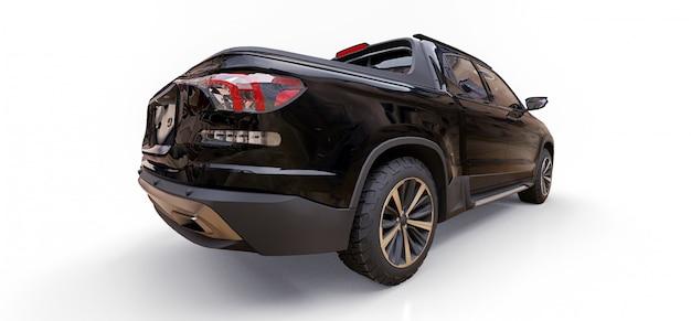 L'illustrazione 3d del camioncino nero del carico di concetto su bianco ha isolato il fondo Foto Premium