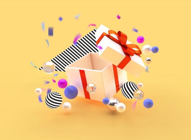 L'illustrazione di 3d rende le palle del contenitore della bandiera di promozione di festa del regalo Foto Premium