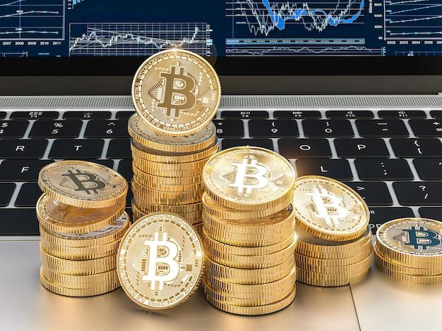 L'immagine 3d rende delle monete del bitcoin dell'oro sul computer portatile moderno. Foto Premium
