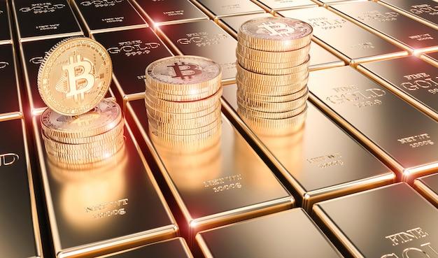 L'immagine 3d rende delle monete del bitcoin sulle barre di oro Foto Premium