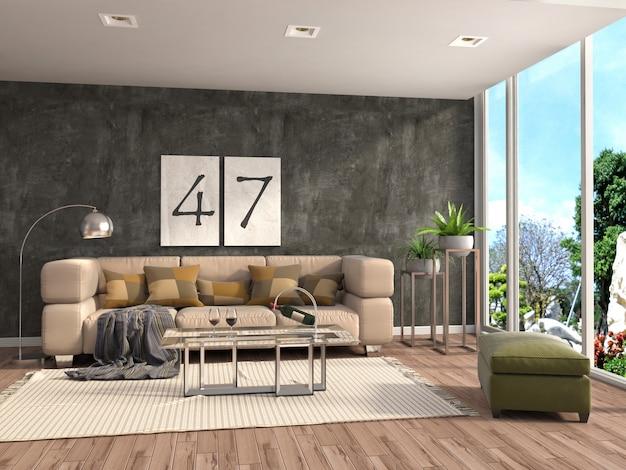 L'interno con il sofà ha reso l'illustrazione Foto Premium