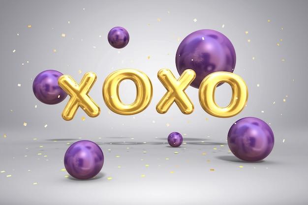 L'oro brillante del metallo segna xoxo e le sfere luminose dei palloni volanti su fondo festivo con i coriandoli, 3d Foto Premium