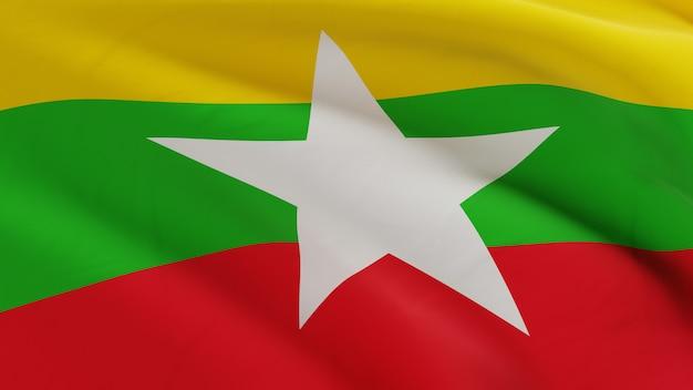 La bandiera del myanmar che ondeggia nel vento, la micro struttura del tessuto in qualità 3d rende Foto Premium
