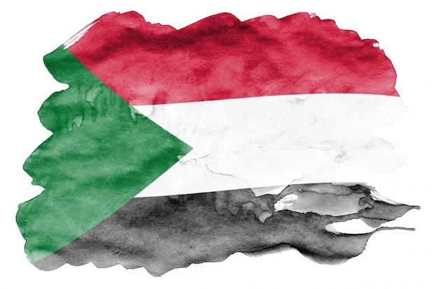 La bandiera del sudan è raffigurata in stile acquerello liquido isolato su bianco Foto Premium