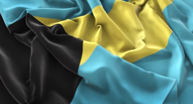 La bandiera delle bahamas ruffled beautifully waving macro close-up shot Foto Gratuite