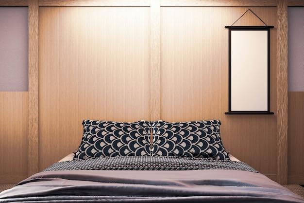 La camera da letto moderna di lusso in stile giapponese si imita, progettando la più bella. rendering 3d Foto Premium