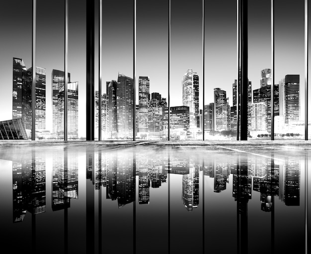 La città accende il concetto scenico urbano delle costruzioni di vista Foto Gratuite