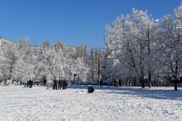 La città del campo da giuoco del paesaggio invernale in neve pura gioca i bambini Foto Premium