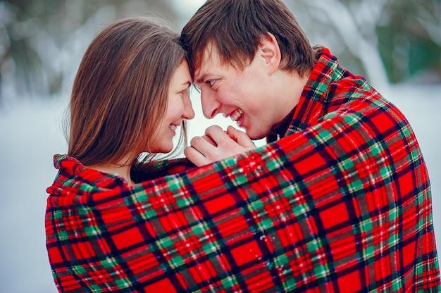 La coppia carina si diverte in un parco invernale Foto Gratuite