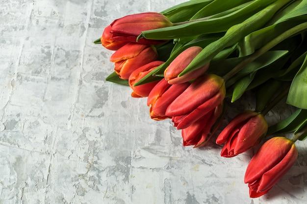 La disposizione piana di grande mazzo del tulipano della molla fiorisce sopra fondo grigio e copia lo spazio per testo. Foto Premium