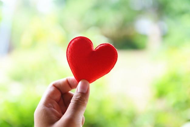La donna che tiene il cuore rosso nelle mani per il giorno di san valentino o dona aiuto per dare calore all'amore, prendersi cura Foto Premium