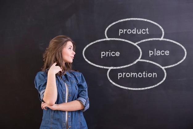 La donna sta stando davanti alla lavagna. Foto Premium
