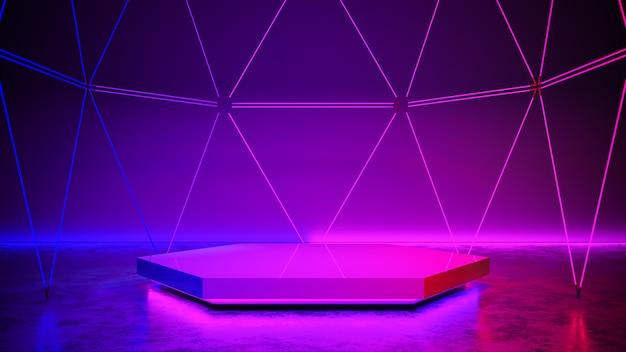 La fase di esagono con luce al neon,, concetto futuristico e ultravioletto astratto, 3d rende Foto Premium