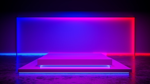 La fase di rettangolo con il blackground della luce al neon e il pavimento di calcestruzzo, l'ultravioletto, 3d rendono Foto Premium