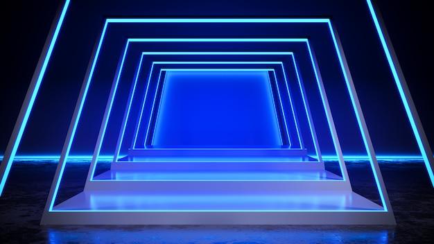 La fase quadrata con il blackground della luce al neon e il pavimento di calcestruzzo, la luce blu, 3d rendono Foto Premium