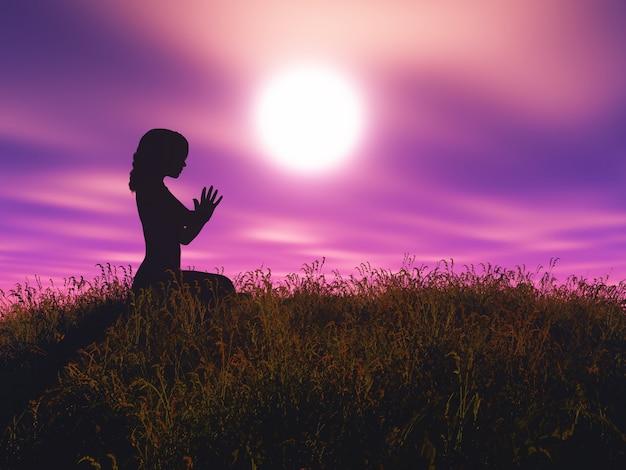 La femmina 3d nella posa di yoga contro il paesaggio del tramonto Foto Gratuite