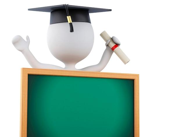 La gente bianca 3d si è laureata con il diploma, la protezione di graduazione e la lavagna. Foto Premium