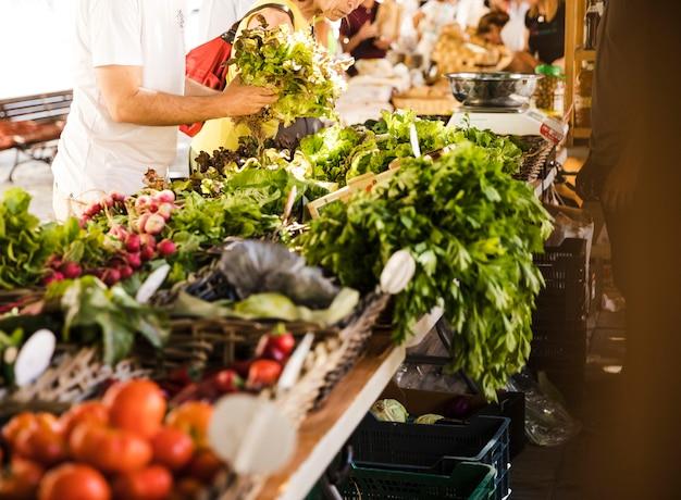 La gente compra verdura dal mercato ortofrutticolo locale Foto Gratuite