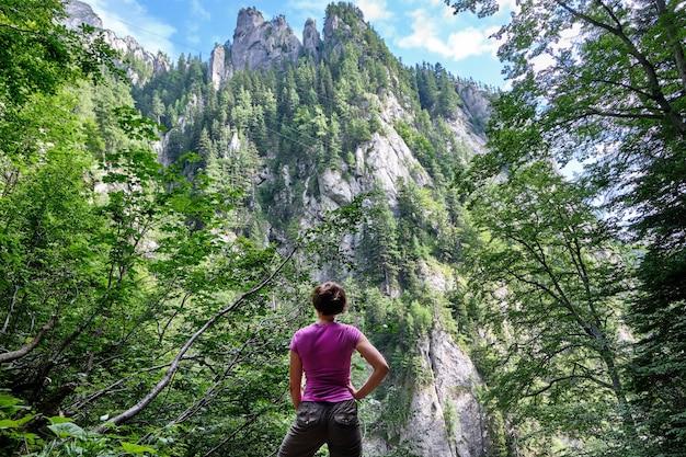 La gente guarda le montagne nella foresta Foto Premium