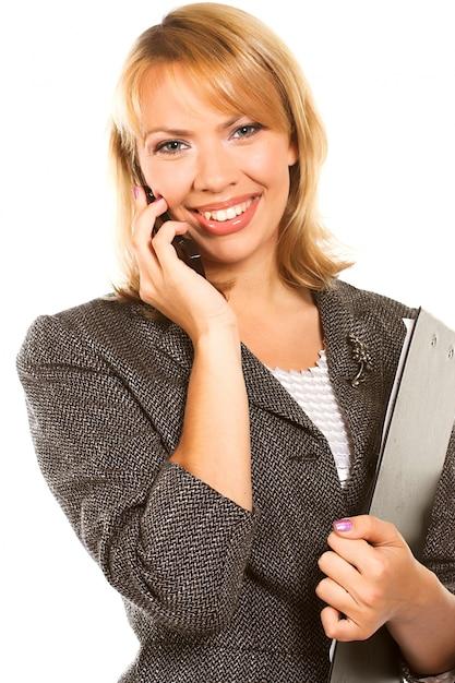 La giovane donna di affari chiama il cellulare Foto Premium