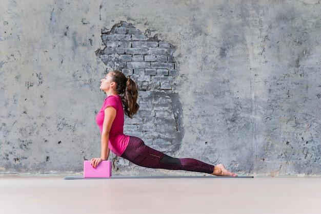 La giovane donna in buona salute che esercita la forma fisica spinge aumenta usando i blocchi Foto Gratuite