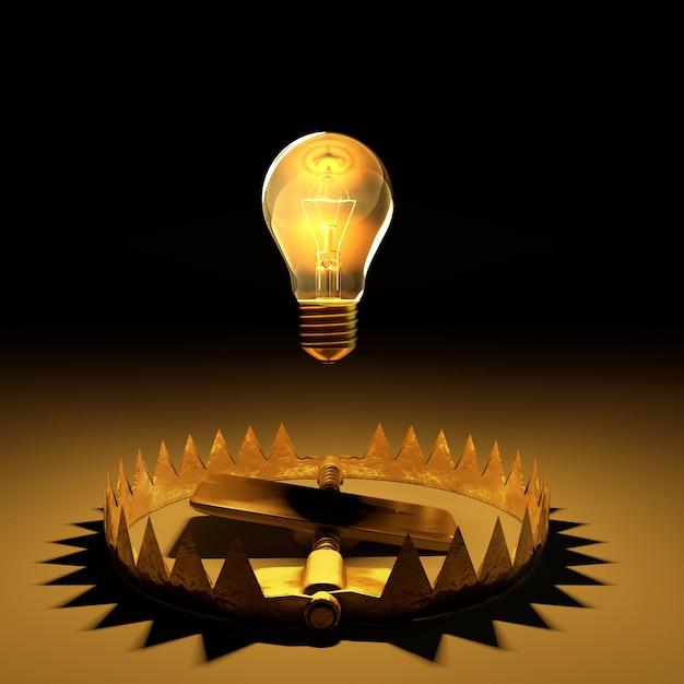 La lampadina galleggiava sulla trappola con il percorso di ritaglio. Foto Premium