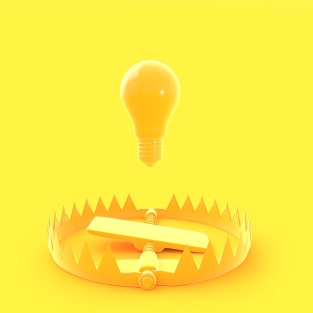 La lampadina galleggiava sulla trappola di colore giallo pastello Foto Premium