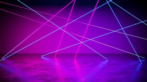 La luce al neon con blackground e il pavimento di calcestruzzo, l'ultravioletto, 3d rendono Foto Premium