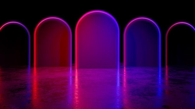 La luce al neon futuristica moderna del cercle, con blackground e il pavimento di calcestruzzo, l'ultravioletto, 3d rende Foto Premium