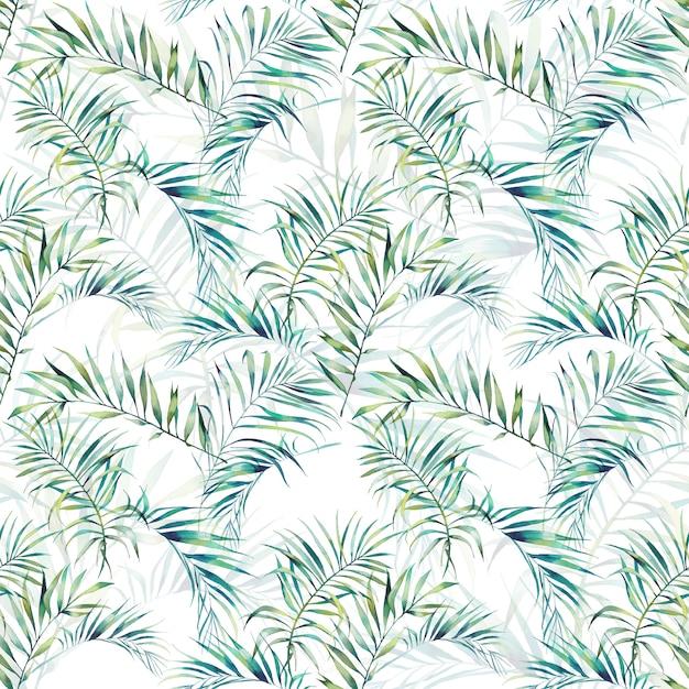 La palma dell'estate lascia il modello senza cuciture. rami verdi dell'acquerello su fondo bianco. disegno di carta da parati esotica disegnata a mano Foto Premium