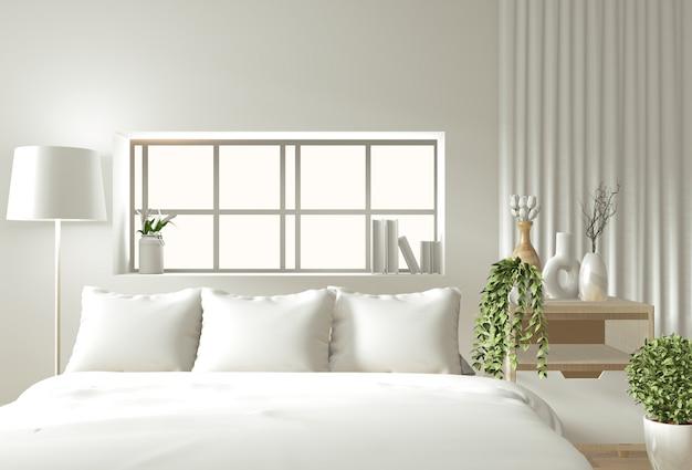 La parete interna domestica deride con il letto, le tende e lo stile di legno di stile giapponese della decorazione nella camera da letto di zen Foto Premium