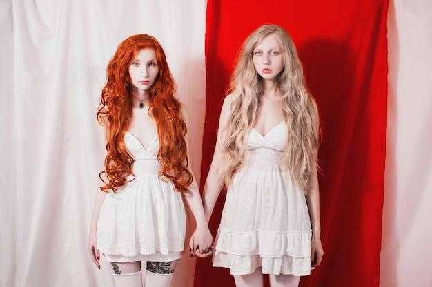 La ragazza dai capelli rossi toccò la bionda. unità di rosso e bianco. due favolose ragazze con lunghi capelli ricci. biancaneve e rosa rossa. bambole viventi. concetto d'arte. le sorelle si guardarono. Foto Premium