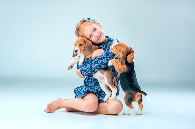 La ragazza felice e due cuccioli di beagle su sfondo grigio Foto Gratuite