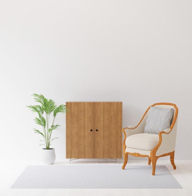 La rappresentazione 3d dell'interior design con la sedia, l'armadietto, l'albero e la moquette deridono su di copyspace Foto Premium