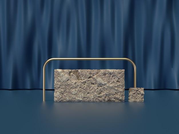 La scena blu stabilita 3d della tenda della pietra della roccia rende Foto Premium