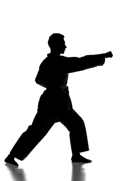 La siluetta del giovane sta praticando le arti marziali sopra. Foto Premium