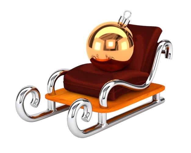 La slitta di babbo natale con un giocattolo di natale isolato su sfondo bianco. il concetto di consegna regalo festivo. illustrazione 3d Foto Premium