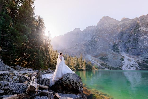La sposa attraente sta stando sulla roccia con la vista strabiliante del lago dell'altopiano con acqua colorata verde il giorno soleggiato, montagne di tatry Foto Gratuite
