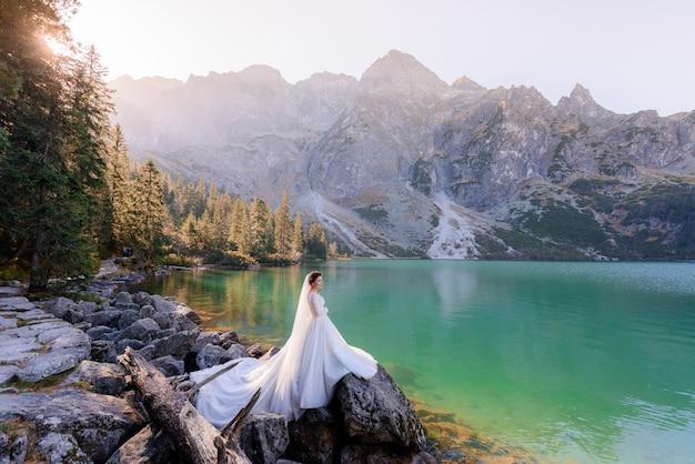 La sposa attraente sta stando vicino al lago dell'altopiano con la vista pittoresca delle montagne di autunno Foto Gratuite