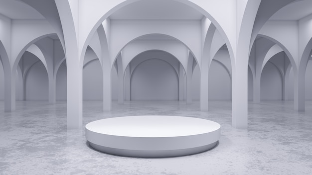 La stanza bianca moderna, con la fase bianca, 3d rende Foto Premium