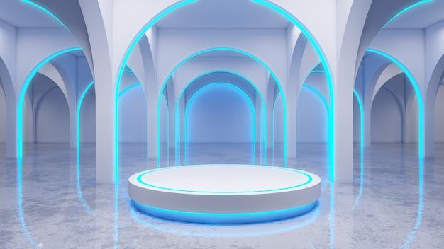 La stanza bianca moderna, con la fase bianca e l'incandescenza al neon, le luci blu, 3d rendono Foto Premium