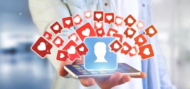 La tenuta dell'uomo d'affari gradisce la notifica su un contatto su una rappresentazione sociale di media 3d Foto Premium
