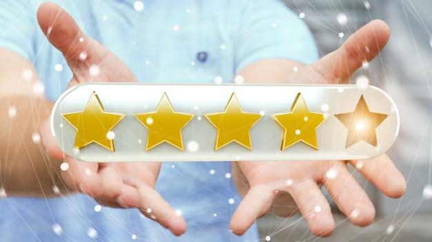 La valutazione dell'uomo d'affari stars con la sua rappresentazione della mano 3d Foto Premium